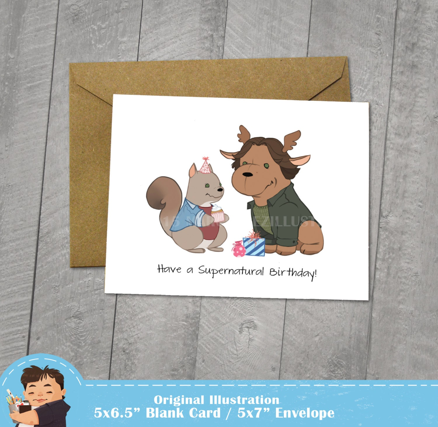 Supernatural Birthday Card Moose And Squirrel Approximately Etsy