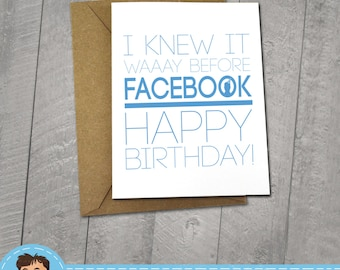 FACEBOOK Birthday,  Approximately 5 x 7 Blank Card with Kraft Envelope, Funny Meme Illustration, Internet Meme, Fun Gift, Cute, Typography