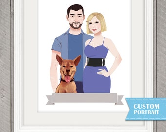 Custom Couple Portrait, 8.5 x 11 print, One FREE Pet Portrait, With or without Pets, CHALK STYLE, Engagement Gift, Affordable Portraits