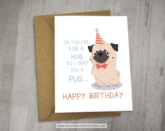 Party Pug Birthday Card,  Approximately 5 x 7 Blank Card with Kraft Envelope, Animal and Dog Illustration, Red and Yellow color Theme