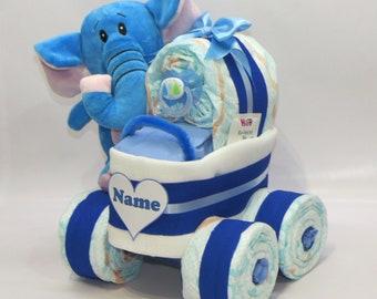 Diaper cake diaper stubenwagen elephant pink etsy