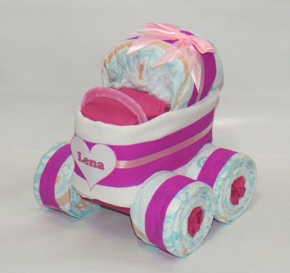 Windeltorte Geburt lila Windeltorte mit Windelkinderwagen XL-Reifen