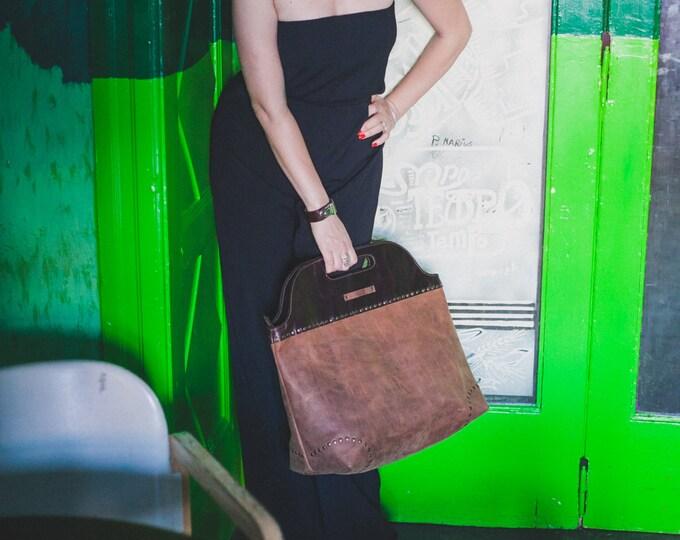 Brown Leather Bag, Doctor Bag, Zippered Bag, Handbag, Top handle bag, Luxury Doctor Bag,  Office Bag, Monaco Bag, FREE SHIPPING