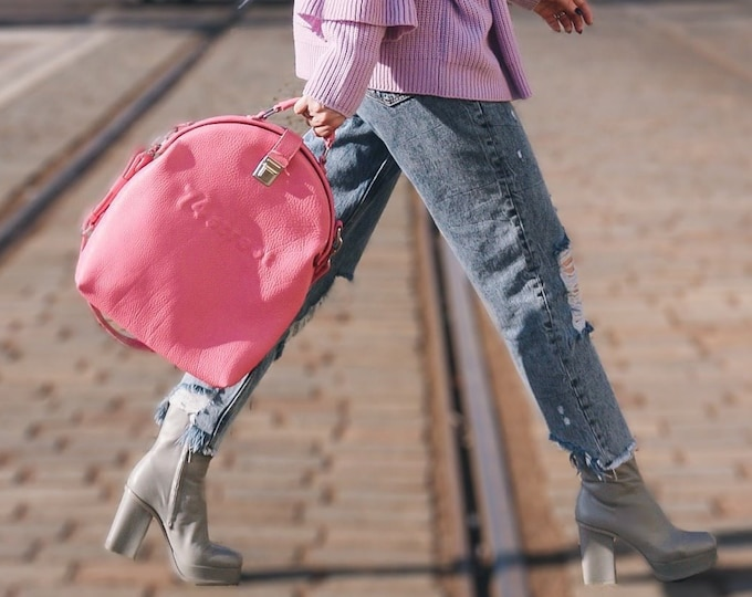 Gladstone Bag, Pink Bag, Luxury Leather Bag, Doctor Bag, Top Handle bag, Leather Bag, Leather Messenger Bag, Metal frame Bag, Mary Poppins B