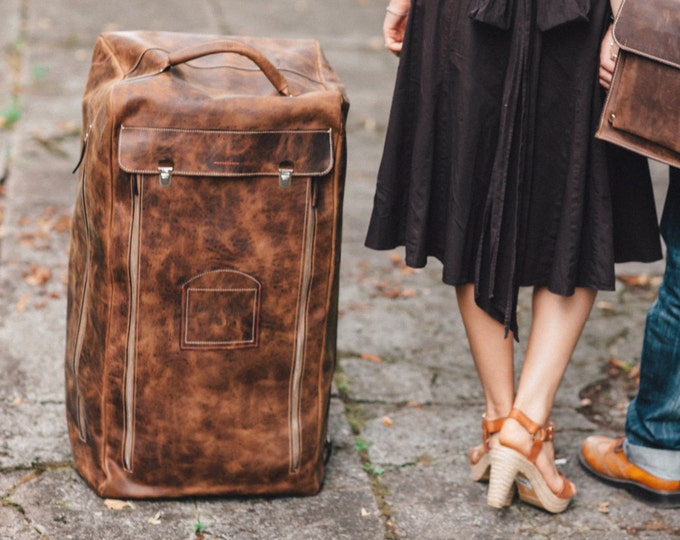 Family Trolley Bag, Family Vacation Trolley,Travel Bag, Full grain large trolley, Rolling Luggage, Leather Trolley, Holiday Bag, LIFETIME Ba