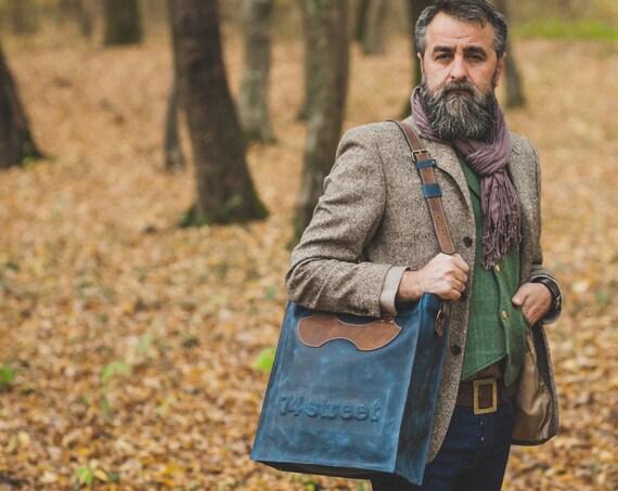 Luxury Blue Leather Bag, Top Handle Bag, 74street messenger bag, Zippered Bag, Leather Bag, Full Grain Laptop Bag, Vertical