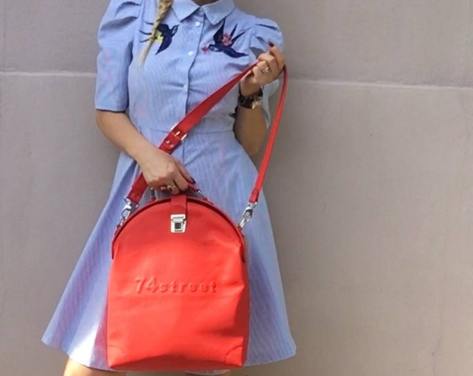Gladstone Bag, RedBag, Luxury Leather Bag, Doctor Bag, Top Handle bag, Leather Bag, Leather Messenger Bag, Mary Poppins, FREE SHIPPING