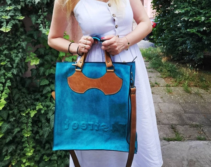 Luxury Blue Leather Bag, Top Handle Bag, 74street messenger bag, Zippered Bag, Full Grain Laptop Bag, Vertical Laptop Bag, FREE SHIPPING