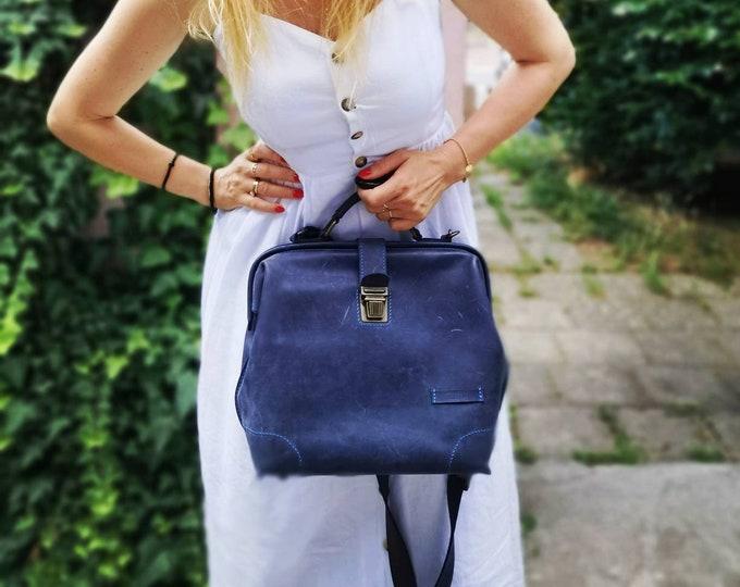 Unisex Blue Leather Doctor bag, Top Handel Bag, Metal Frame Bag, Doctor Bag, Leather Bag, Mary Poppins Bag, FREE SHIPPING