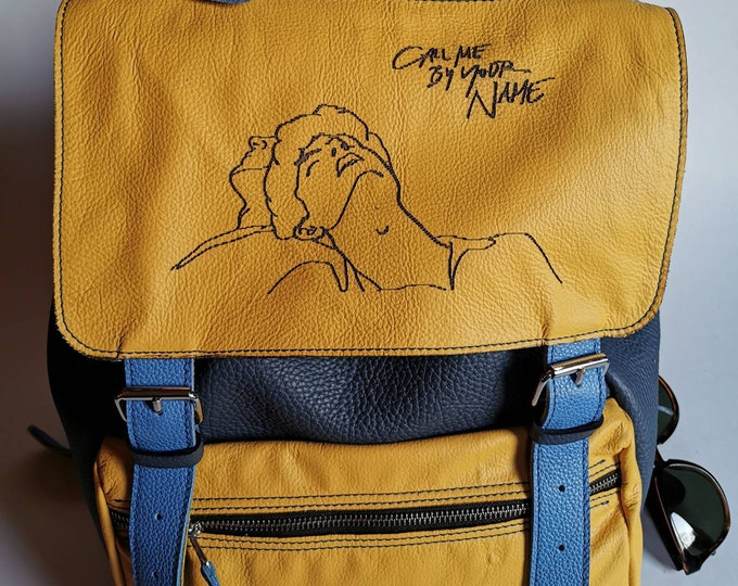 Elio's Backpack, Leather Backpack, CMBYN, Art inspires art, Yellow backpack, Call me by your name inspired by backpack in leather