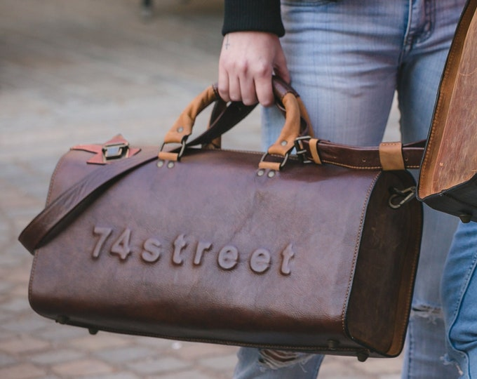 Duffel Bag, Rusty Brown Travel Bag, Sports Bag, Leather Weekender Bag, Leather Bag, Available in 3 different shades of brown