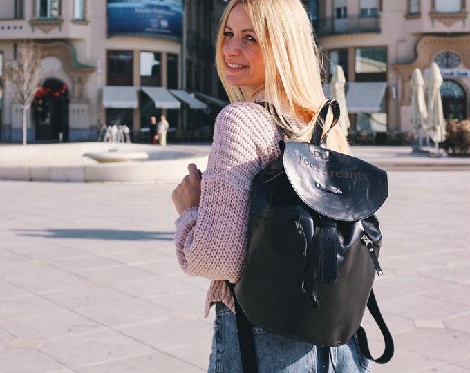 Black Leather Backpack, Message Backpack, Black backpack, School Bag,  Leather Backpack, Black bag, Fashion Backpack, Black Rucksack