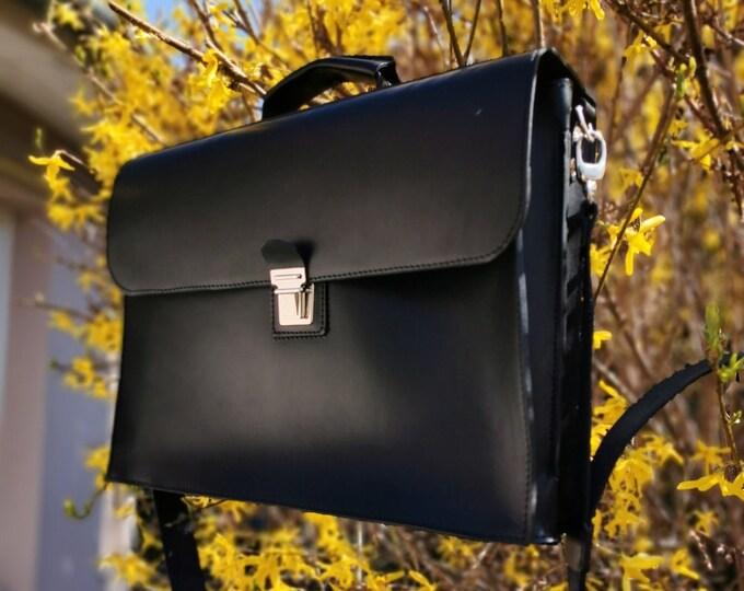 15 inch laptop bag, Mr.Jones's Black Briefcase, Leather Briefcase, Genuine Leather Messenger Bag, Office Bag, Man  Laptop Bag, FREE SHIPPING