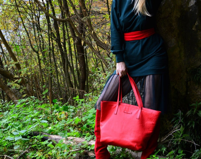 Red Bag,15 inch laptop bag, Tote Bag, Red Leather Bag, Handmade Office Bag, Leather Shoulder Bag,LIFETIME BAG