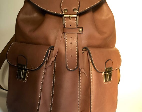 Leather Backpack,Full Grain leather Back Pack,Owl Eboidred Leather Backpack,Travel Bag,Overnight Bag, School Bag,, Rucksac