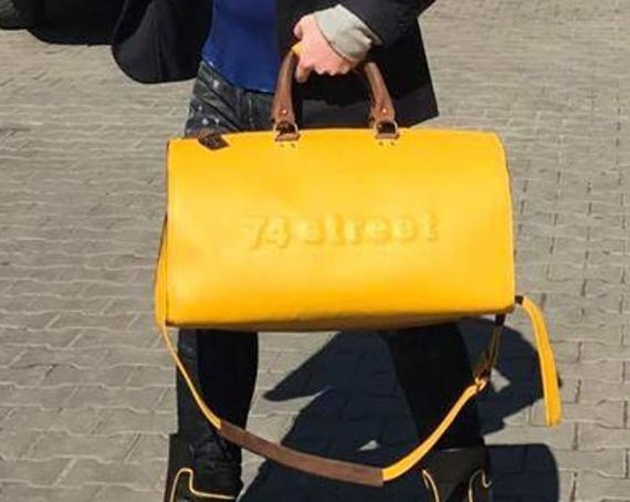 Duffel Bag, Yellow Travel Bag, Yellow Sports Bag, Yellow Leather Weekender Bag, Yellow Leather Business Bag