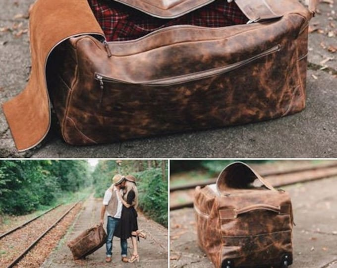 Family Trolley Bag, Family Vacation Trolley,Travel Bag, Full grain large trolley, Rolling Luggage, Leather Trolley, Holiday Bag, Free Shippi