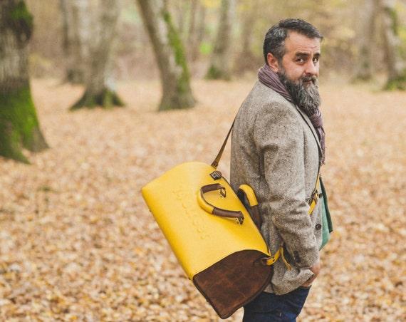 Yellow Duffel Bag, Yellow Travel Bag, Yellow Sports Bag, Yellow Leather Weekender Bag, Yellow Bag