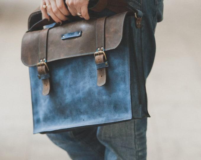 Blue leather Briefcase,Full Grain Blue Leather Bag, Leather Bag, blue Leather Briefcase, Bag for files, Unisex Leather Bag, LIFETIME BAG