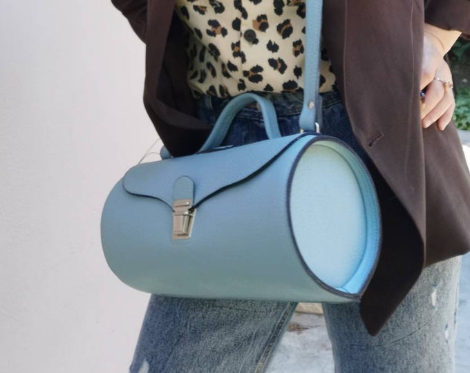 Baby Blue Bag, Blue Leather Bag, Tubular Doctor bag, Cross Body Bag, Leather Bag, Handmade Leather Bag, Crossbody bag, FREE SHIPPING