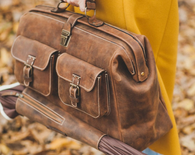 Leather Doctor bag, Metal framed Doctor Bag, Office Bag, Weekender Bag, overnight Bag, Man Briefcase, Mary Poppins Bag, FREE SHIPPING
