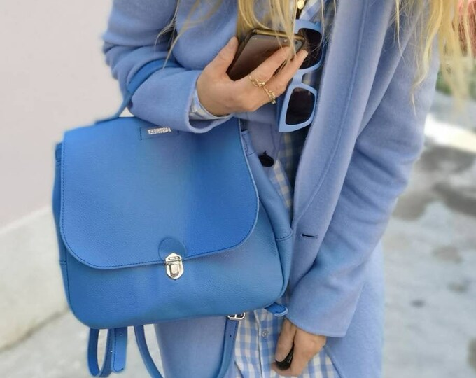 Retro Baby Blue Leather Backpack, Full Grain leather Back Pack, Blue Backpack, Top Handle Bag Leather Backpack, City Backpack FREE SHIPPING