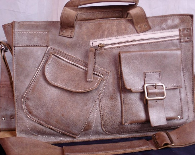 Waterproof 15 inch Macbook Complicated Laptop Leather Bag, Handmade Laptop Bag,Leather Briefcase,Handmade Briefcase