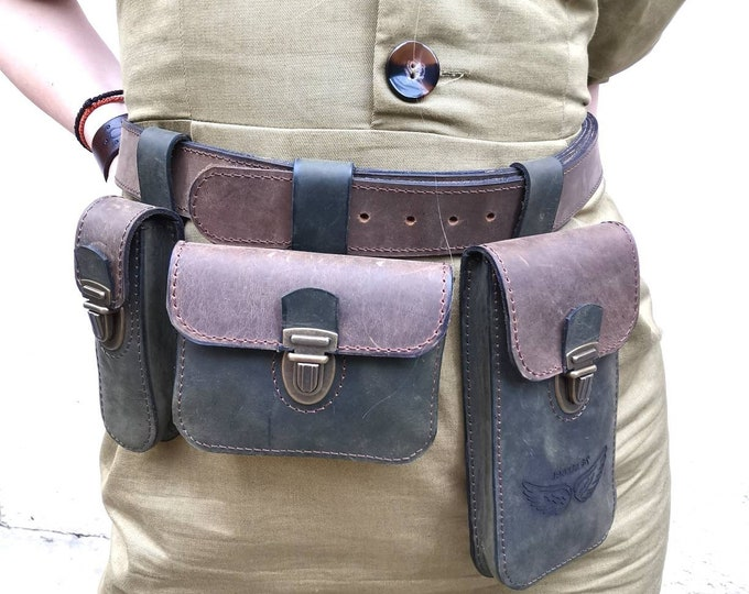 Leather waist and hip belt and bags, Hip bags, 3 bags on a belt, miscellaneous bags and belt, detachable belt bags, leather bags