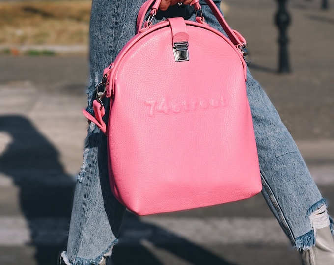 Gladstone Bag, Pink Bag, Luxury Leather Bag, Doctor Bag, Top Handle bag, Leather Bag, Leather Messenger Bag, Mary Poppins, FREE SHIPPING