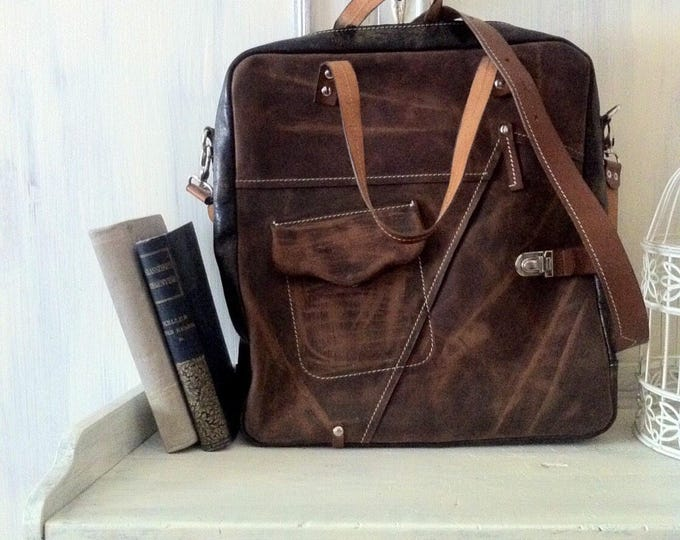 Brown leather bag, 15 inch laptop bag, office bag, school bag, student's bag, handmade bag, custom bag, leather bag ,FREE SHIPPING
