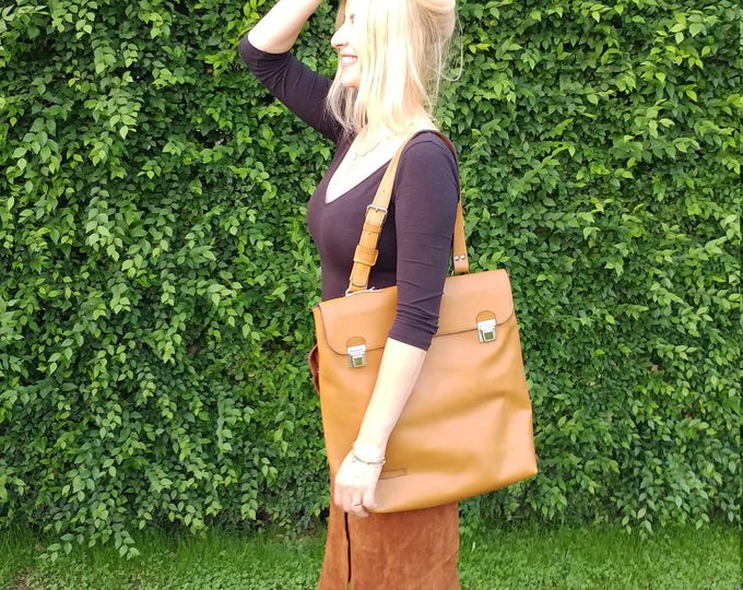 Leather Laptop Bag, Genuine Leather Tote bag, Office tote Bag, Vertical Satchel, Handmade Leather Bag, FREE SHIPPING