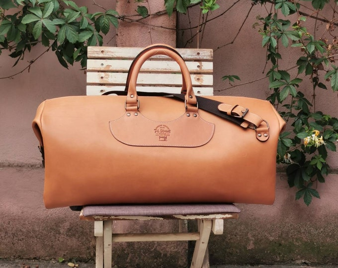 Duffel Bag, Camel Brown Travel Bag, Sports Bag, Leather Weekender Bag, Leather Bag, LIFETIME BAG