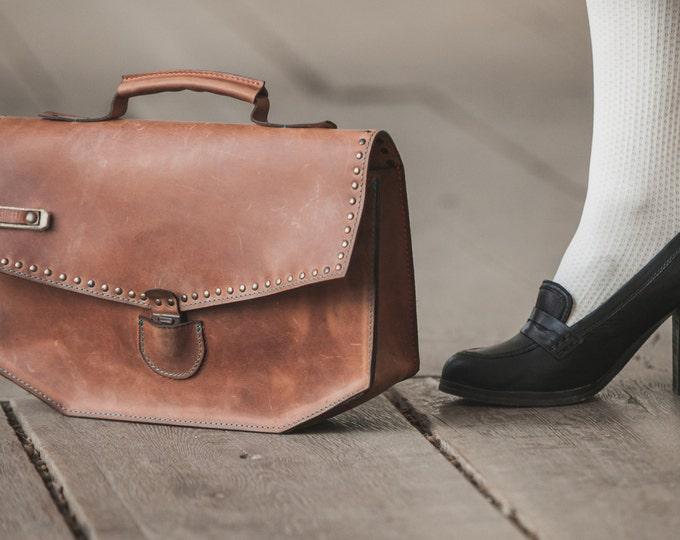 Leather Handbag,  Leather Office Bag ,Handmade Leather Doctor bag, Top Handle Bag, Woman handmade Bag, FREE SHIPPING