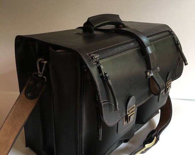 Documents Briefcase, Cubic Leather Briefcase, Mr.Jones's Leather Briefcase, Luxury 3 Compartments Briefcase, Lawyer Briefcase 11 inches