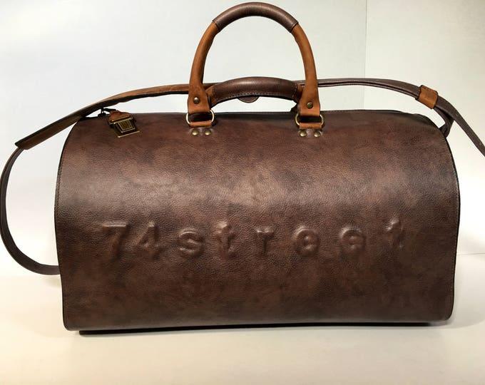 Duffel Bag, Rusty Brown Travel Bag, Sports Bag, Leather Weekender Bag, Leather Bag, FREE SHIPPING