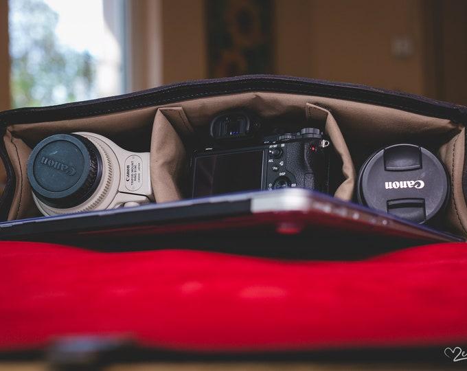 Camera Bag, Luxury Two cameras Photographer , hedgehog fasten Self Compartmenting Bag, Camera Bag, Photographer 15 inch bag, Canon Mark
