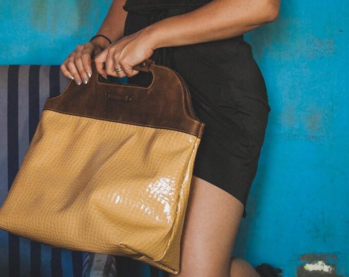 Crocodile leather Bag, Yellow Crocodile Bag, Leather Bag, Doctor Bag, Luxury lacquer Leather Bag, Handbag, Top Handle Bag, FREE SHIPPING