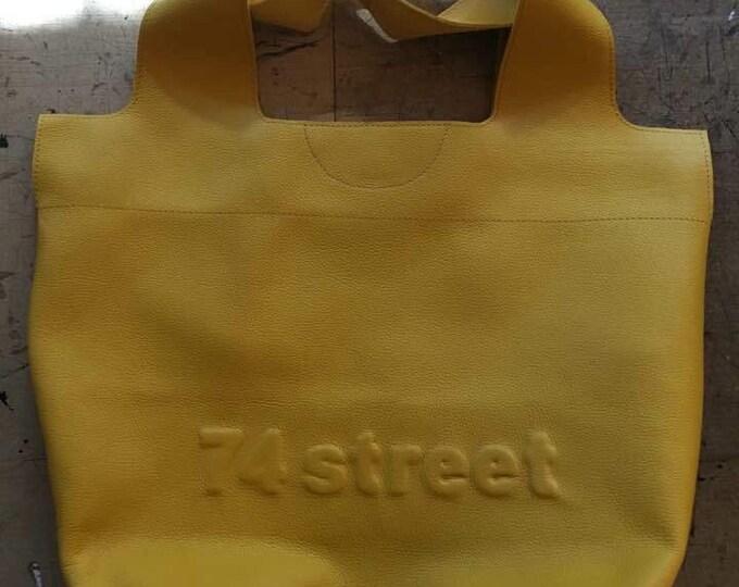 74street street bag, Yellow  Leather Tote Bag, Ivory Tote Leather Bag, Tote Leather Bag, Shoulder Bag, Handmade Bag, FREE SHIPPING