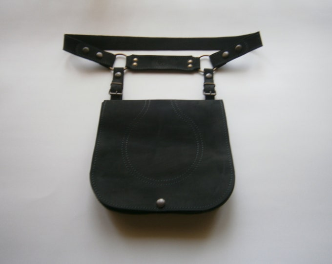 NYC Hip Bag, Handmade Genuine Leather Hip Bag, Black Hip Bag, Belt Bag, Belt&Bag, Made to order, LIFETIME BAG