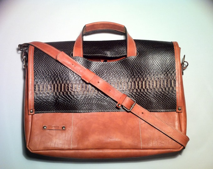 "17"" Business Snake leather Briefcase, Distressed Vachetta Tan Leather Bag,Handmade Woman Briefcase,Laptop Bag, Laptop hand bag,"