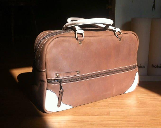 Overnight Handbag, Leather Handbag, Doctor Bag, Day Bag, Sport Bag, Duffle Leather Bag, FREE SHIPPING