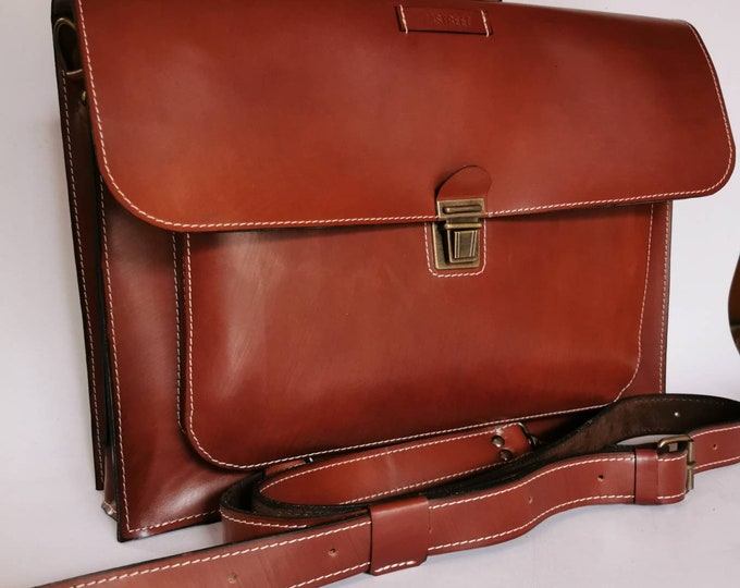 Doubled Cognac Leather Briefcase, Macbook Pro air, Macbook Retina Bag,  briefcase, Man Briefcase,Leather Bag, FREE SHIPPING