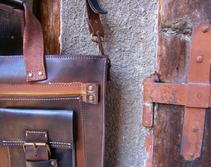 """Laptop Leather Bag, 15"""" Laptop Bag, Genuine Leather Briefcase, Handmade Briefcase, Handmade Leather Bag, FREE SHIPPING"""