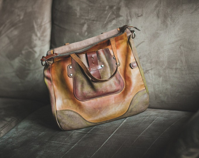 Painted Large Full Grain Vogue Bag,  full grain leather bag, leather purse, leather bag, gift for her