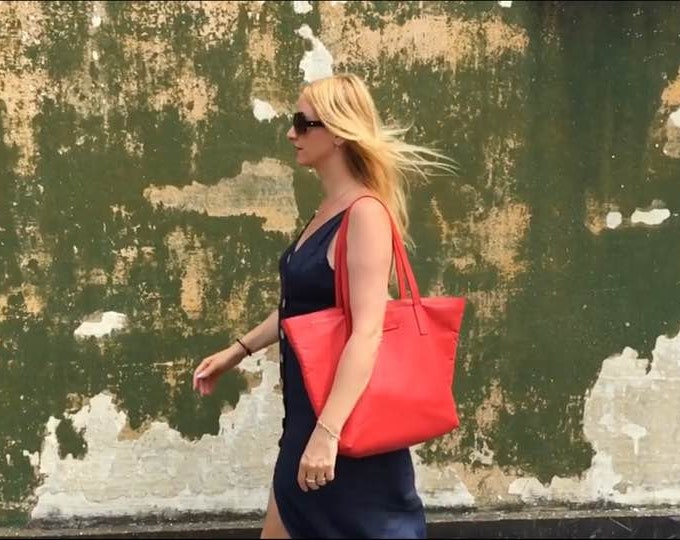 Red Bag,15 inch laptop bag, Tote Bag, Red Leather Bag, Handmade Office Bag, Leather Shoulder Bag, FREE SHIPPING