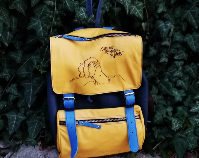 Call me by your name backpack Elio's Backpack, Leather Backpack, CMBYN, Art inspires art, Yellow backpack, Call me by your name inspired by