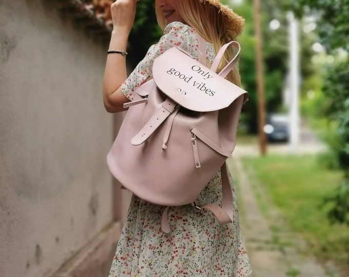 Message Backpack, Dusty Pink backpack, Summer Bags, Summer Backpack, Dusted Pink bag, Fashion Backpack, FREE SHIPPING