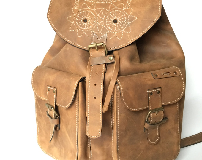 Leather Backpack,Full Grain leather Back Pack,Owl Eboidred Leather Backpack,Travel Bag, Overnight Bag, School Bag, Rucksac, FREE SHIPPING