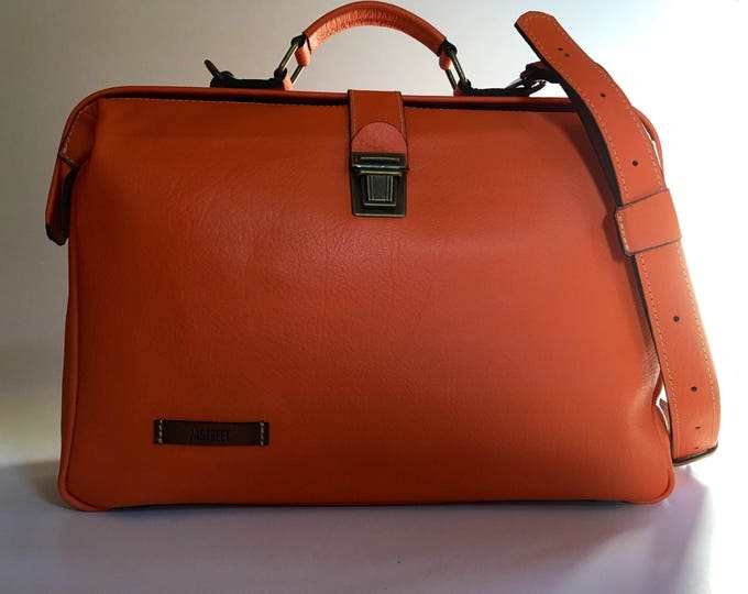 Gladstone Bag,  15 inches YELLOW  Woman Leather Briefcase, Woman Handbag, Woman Leather Bag, Orange Leather Bag