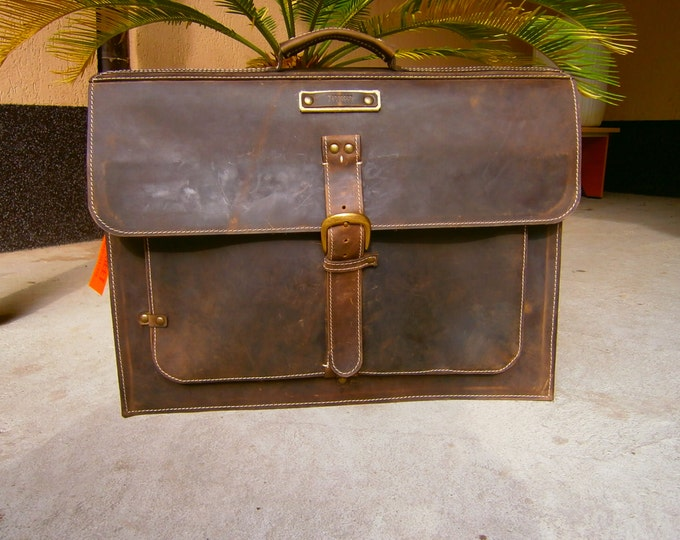 Large 17inch Laptop Bag, Office Laptop Briefcase, Vintage Style17 inch Laptop Briefcase, Handmade messenger bag, FREE SHIPPING